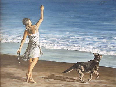 Art Print featuring the painting Girl And Dog by Natalia Tejera