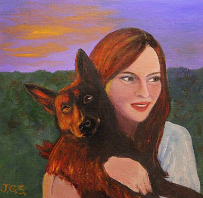 Painting - Girl And Her Dog by Janet Greer Sammons