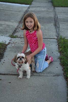 Susana Maria Rosende Photograph - Girl And Her Dog by Susana Maria  Rosende