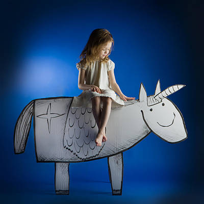 Unicorn Photograph - Girl And Her Unicorn by Eva Miliuniene