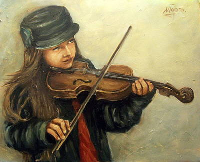 Girl And Her Violin Art Print