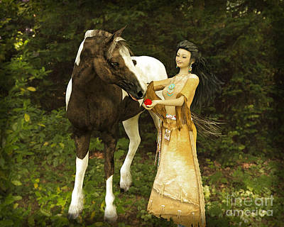Digital Art - Girl And Horse by Methune Hively