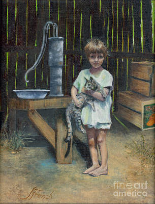 Painting - Girl And Kitty by Jeanette French