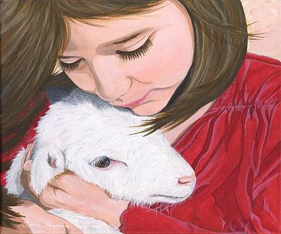 Girl And Lamb Original by Twyla Francois