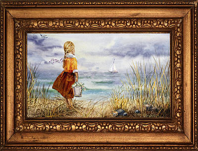 Claude Monet - Girl And Ocean In Vintage Frame by Irina Sztukowski