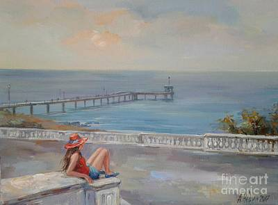 Romantic Painting - Girl And Sea by Angelina Nedin