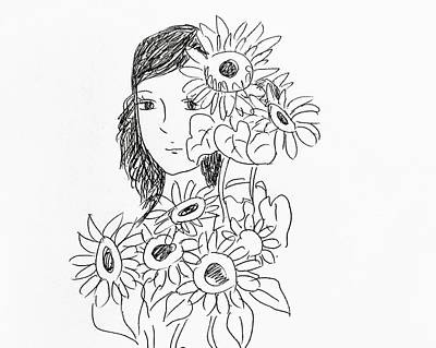 Drawing - Girl And Sunflower  by Hae Kim