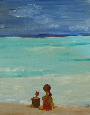 Painting - Girl And The Beach by Joseph Hawkins