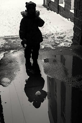 Photograph - Girl And The Pool Of Reflection Street Abstract by John Williams