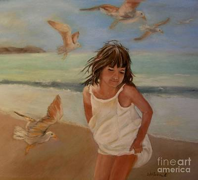 Painting - Girl And The Seagulls by Ceci Watson