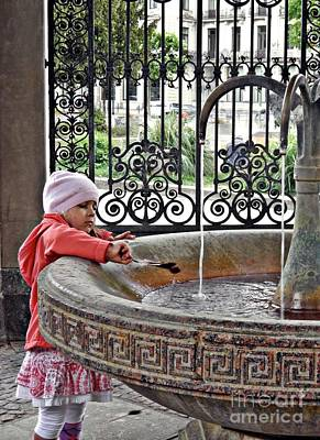 Photograph - Girl At A Hot Spring Fountain In Wiesbaden  by Sarah Loft