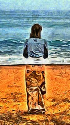 Coast Digital Art - Girl At Beach - Da by Leonardo Digenio