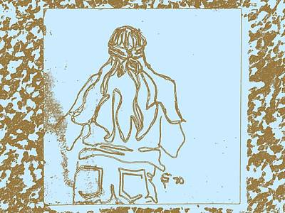 Denim Drawing - Girl At Fifth Dimension Concert In Park In Blue And Brown by Sheri Buchheit