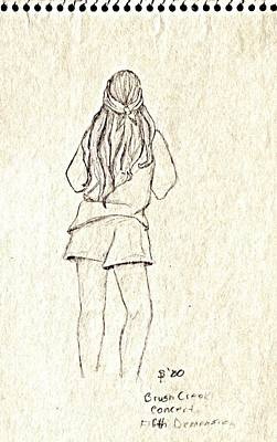 Denim Drawing - Girl At Fifth Dimension Concert In Park by Sheri Buchheit