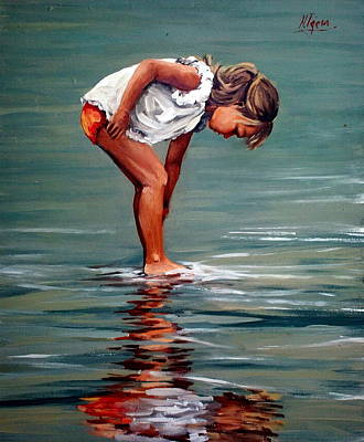 Girl At Shore  Art Print