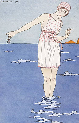 Swim Drawing - Girl At The Beach by Georges Barbier