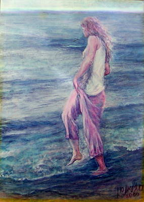 Girl At The Beach Art Print