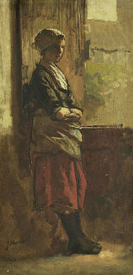 Girl At The Window Print by Jacob Maris