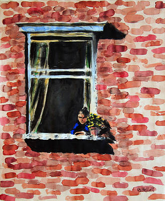 Painting - Girl At Window by Bonnie Follett