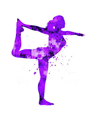 Girl Athlete Silhouette Watercolor On White Art Print