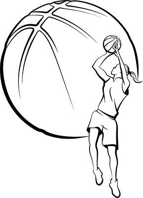 Girl Basket Ball Player Shooting Art Print by Munrotoo