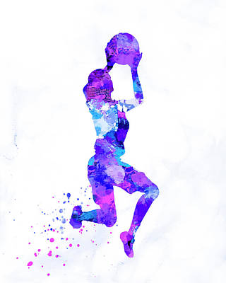 Girl Basket Ball Player Silhouette Watercolor Print Art Print