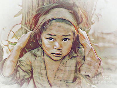 Digital Art - Girl Carrying Firewood In Nepal by Wernher Krutein