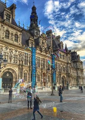Photograph - Girl Chasing Rainbow Bubbles Paris France by Lawrence S Richardson Jr