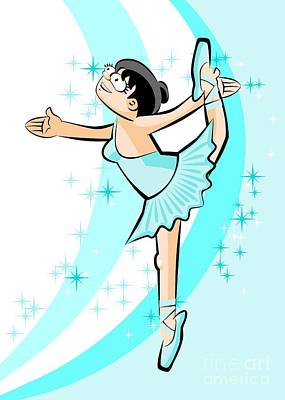 Girl Dancing Ballet On Tiptoe In The Middle Of A Constellation Of Stars Art Print