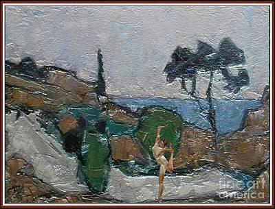 Girl Dancing By The Sea Art Print by Pemaro