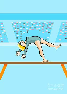 Activity Digital Art - Girl Doing A Somersault In The Olympic Games Over The Balance Beam by Daniel Ghioldi