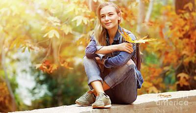 Photograph - Girl Enjoying Autumn by Anna Om