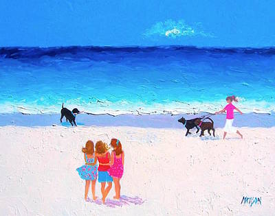 Womens Painting - Girl Friends - Beach Painting by Jan Matson