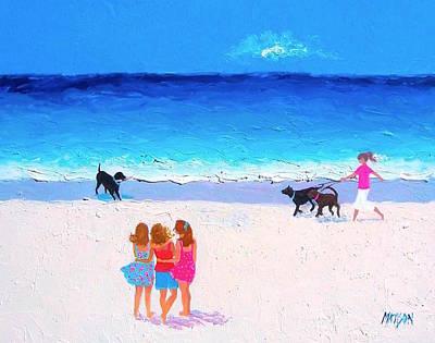 Beach Home Interiors Painting - Girl Friends - Beach Painting by Jan Matson