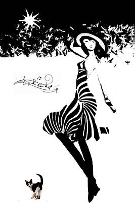 Digital Art - Girl From Ipanema B And  W by Joyce Dickens