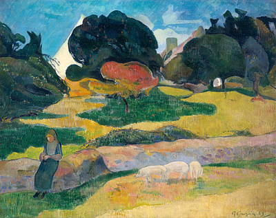 Piglets Painting - Girl Herding Pigs by Paul Gauguin