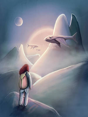 Flying Whale Painting - Girl Hiking On The Planet Of The Flying Whales by Rui Barros