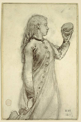 Winslow Homer Drawing - Girl Holding A Shell, 1879 by Winslow Homer