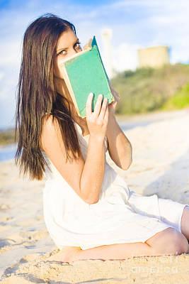 Girl Holding Book Art Print