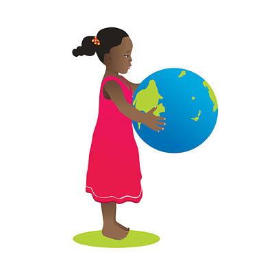 Girl Holding World Globe Art Print by Serena King