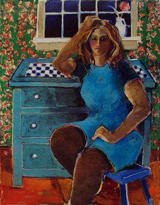 Painting - Girl In A Blue Dress by Diane Ursin