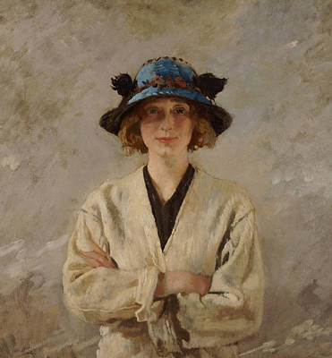 Girl In A Blue Hat, 1912 Art Print by Sir William Orpen