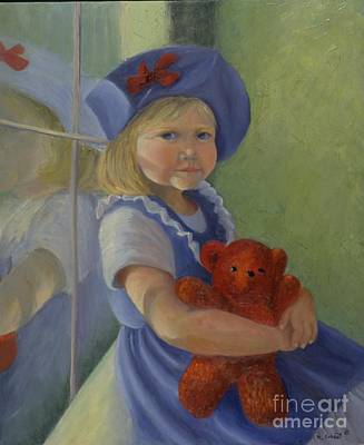 Painting - Girl In A Blue Hat by Mary Erbert