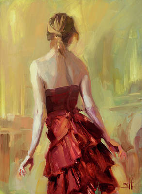 Redheads Wall Art - Painting - Girl In A Copper Dress I by Steve Henderson