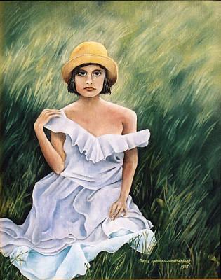 Girl In A Field Of Grass Art Print by  Gayle  Hartman