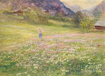 Girl In Landscape Painting - Girl In A Field Of Poppies by John MacWhirter