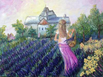 Landscape Painting - Girl In A Lavender Field  by Roxy Rich