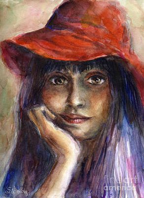 Austin Painting - Girl In A Red Hat Portrait by Svetlana Novikova