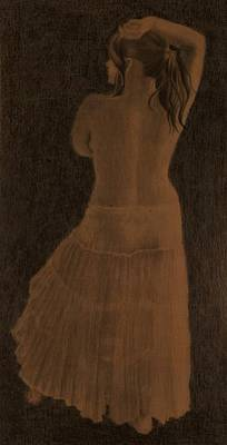 Drawing - Girl In A Skirt by Lynn Hughes