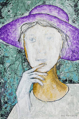 Painting - Girl With A Violet Hat by Ben Gertsberg